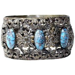 Circa 1930s Plated Brass & Blue Glass Cabochon Hinged Bangle