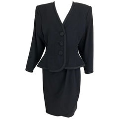 Yves Saint Laurent black wool peplum jacket wrap skirt set 1990s