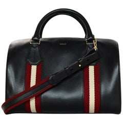 Bally Black Leather Boston Bag W/ Red/Cream Canvas Stripe & Strap