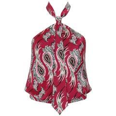 """ALEXANDER McQUEEN S/S 2001 """"Voss"""" Paisley Print Halter Necktie Top"""
