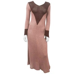 1930s Brown Knit Silk Dress