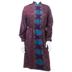 1960s Helga Howie Jewel Toned Paisley Dress
