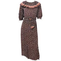 1930s Brown Polka Dot Printed  Crepe Dress