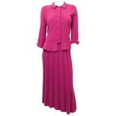 1950s Magenta Knit Two-Piece Set