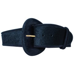 DONNA KARAN Wide Black Cowhide Belt Size Small