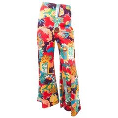 1970s Multi-colored Printed Wide Legged Pants