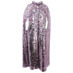 1960s Pink Sequin Full Length Cape