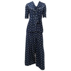 Navy and White 3-Piece Set with Steam Boat Print