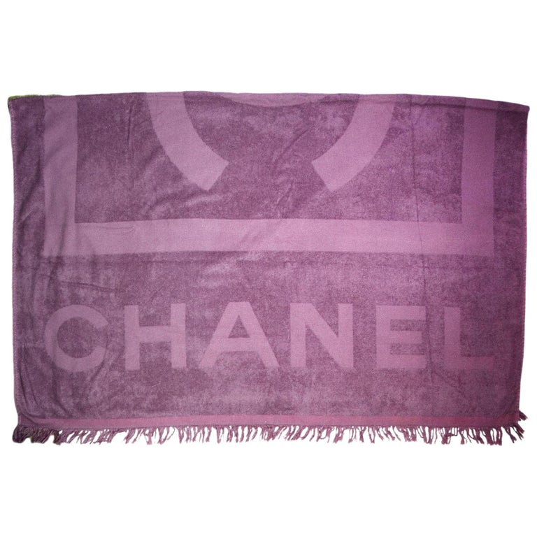 Chanel Towel: Chanel Purple XL CC Cotton Beach Towel For Sale At 1stdibs
