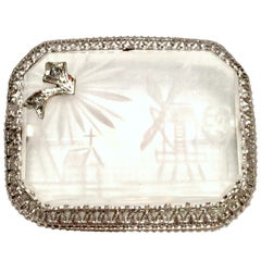 Antique Platinum Etched Crystal & Diamond Brooch