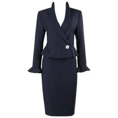 VALENTINO Miss V c.1990's 2 Pc Navy Blue Peplum Blazer Jacket Skirt Suit Set