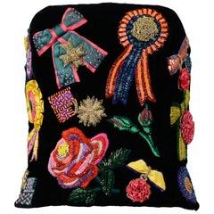 Vintage Christian Dior FW 1988 Floral & Ribbon Appliqué Bustier
