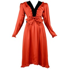 Vintage Yves Saint Laurent Red Satin Ruffle Tuxedo Dress