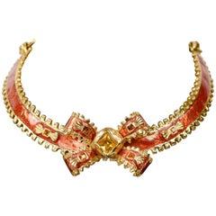 Yves Saint Laurent Red Enamel & Gold Bow Choker