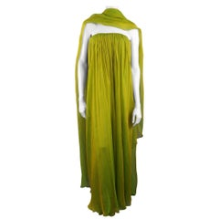 CAROLYNE ROEHM Size 6 Iridescent Green Gathered Silk Straples Gown