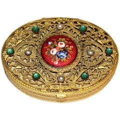 Circa 1920s Ornate French Jeweled Compact