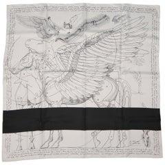 HERMES X COMME des GARCONS White & Black 'Le Pegase d'Hermes' Silk Scarf