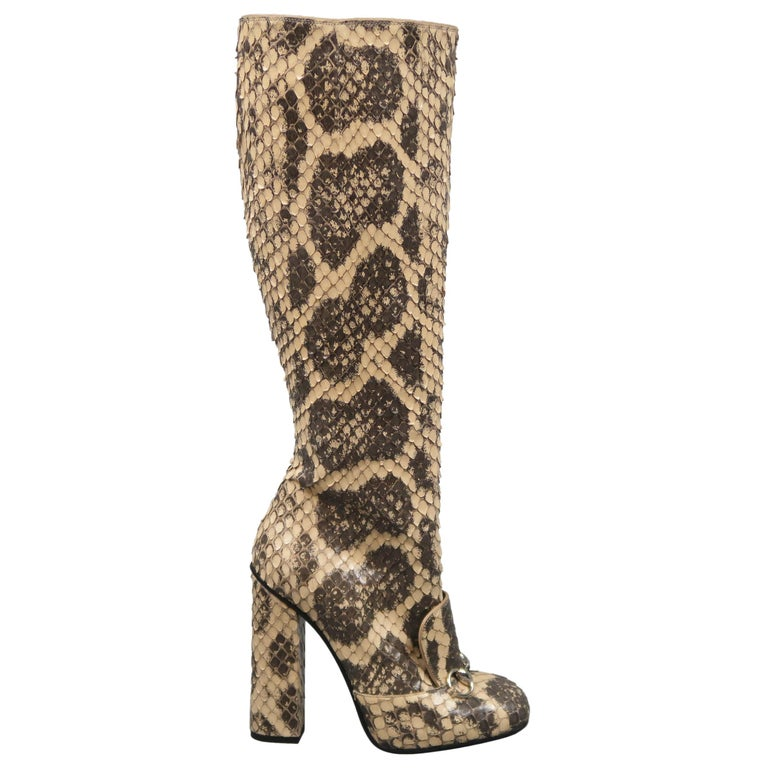 6cdb45a7b GUCCI Size 7.5 Beige Phython Snakeskin Leather Horsebit Knee High Boots For  Sale