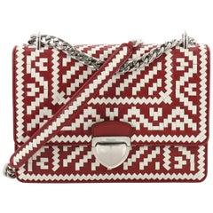 Prada Push Lock Flap Chain Bag Madras Woven Leather Small