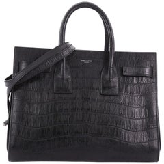 Saint Laurent Sac de Jour Handbag Crocodile Embossed Leather Small