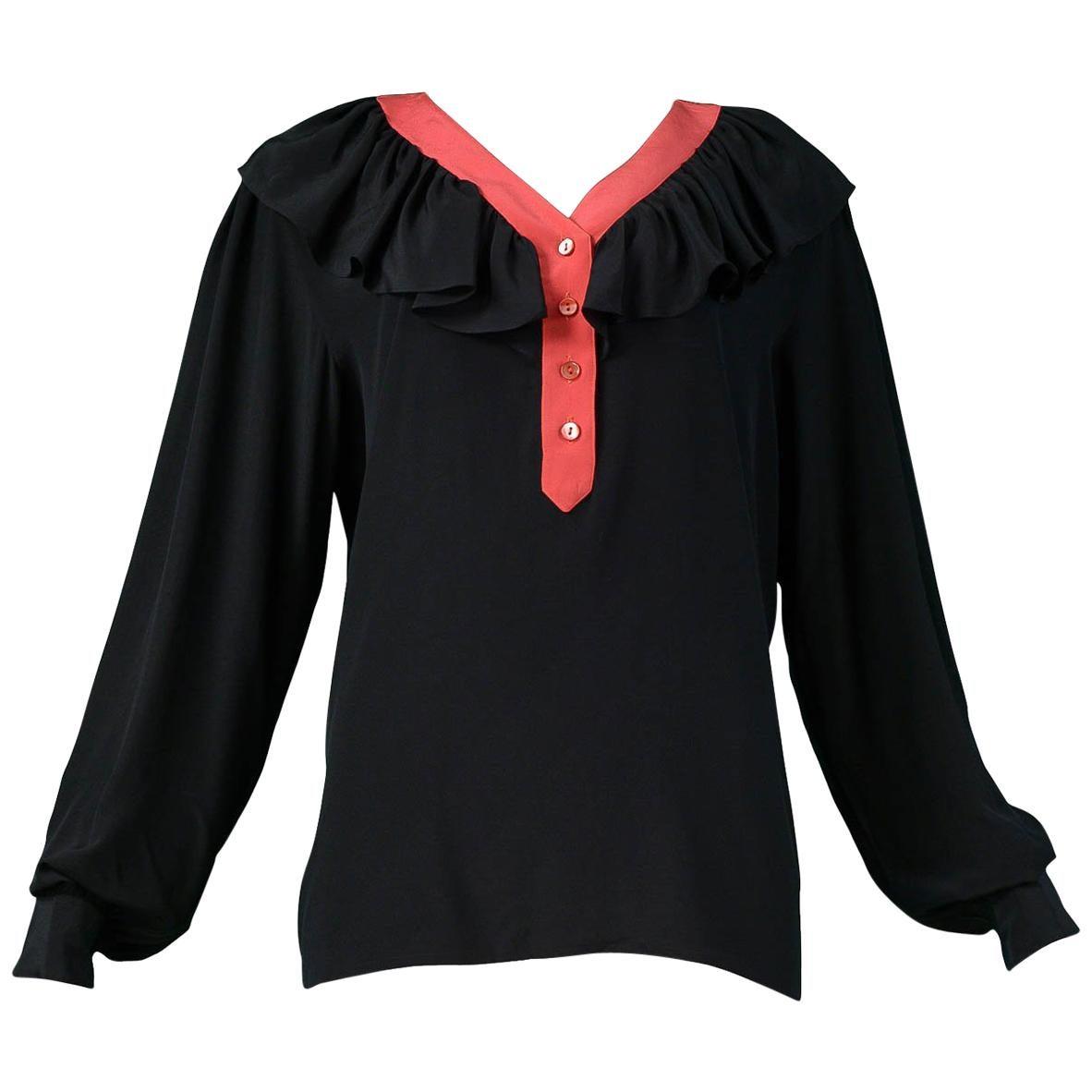 Vintage Yves Saint Laurent Black & Red Silk Ruffle Blosue