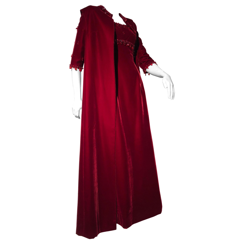 1960s Nina Ricci Couture Ruby Velvet Gown & Cape Ensemble W/ Heavy Bead Trim
