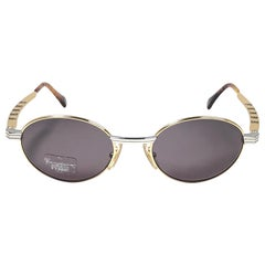 New Vintage Gianfranco Ferré 264 Oval Gold / Silver 1990  Italy Sunglasses