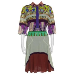 Etro Multicolor Printed Short Sleeve Button Front Shirt Dress M