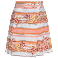 Salvatore Ferragamo Multicolor Printed Cotton Belted Pleated Skirt S