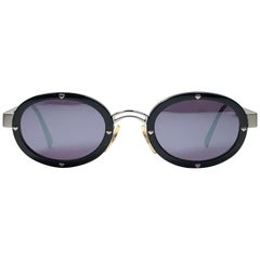 New Vintage Moschino MM3010 Oval Black Mirror 1990 Sunglasses