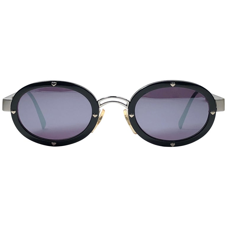5c19c7930a New Vintage Moschino MM3010 Oval Black Mirror 1990 Sunglasses For Sale