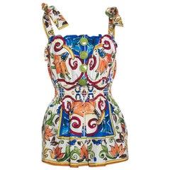Dolce &  Gabbana Multicolor Majolica Printed Cotton Smocked Waist Sleeveless Top