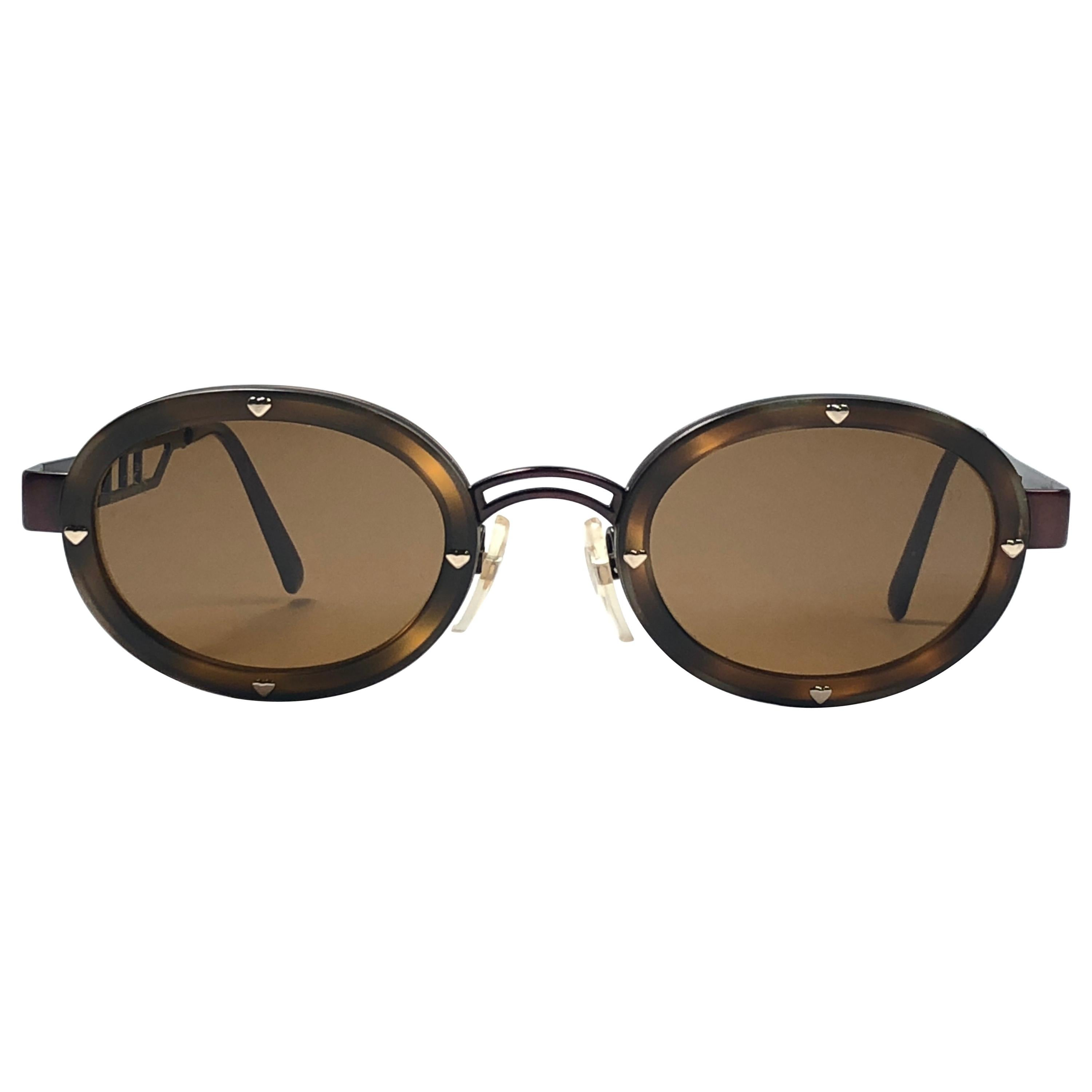 New Vintage Moschino MM3010 S Oval Brown 1990 Sunglasses 1990's