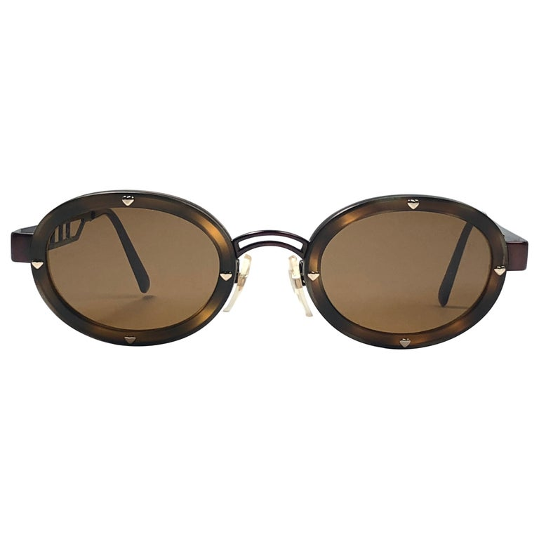 ed2e74629c New Vintage Moschino MM3010 S Oval Brown 1990 Sunglasses 1990 s For Sale