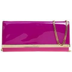 Jimmy Choo Hot Pink Patent Leather Milla Clutch Bag