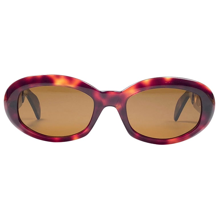 b6bb5dd07a New Vintage Moschino By Persol MM644 Tortoise Gold Brown 1990 Sunglasses  1990 s For Sale