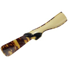 1920's Art Deco Celluloid Leg & Faux Tortoise Shoe Horn