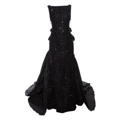 Oscar de la Renta Black Silk Embellished Lace Overlay Ruffle Detail Evening Gown
