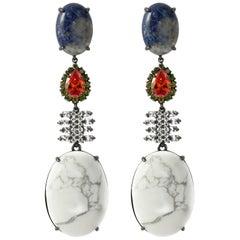 Iosselliani Club Africana White Turquoise and Sodalite Dangling Earrings