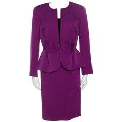 CH Carolina Herrera Purple Jacquard Bow Detail Skirt Suit M