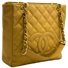 CHANEL Caviar PST Chain Shoulder Shopping Tote Bag Beige Quilted