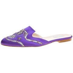 Oscar De La Renta Purple Embellished Satin Flat Spanish Mules Size 40