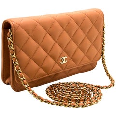 CHANEL Salmon Pink WOC Wallet On Chain Shoulder Crossbody Bag Gold
