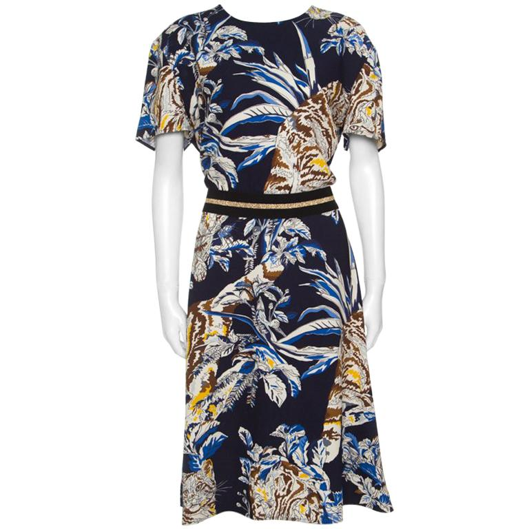 Stella Mccartney Navy Blue Fl And Cat Printed Crepe Petra Dress L For