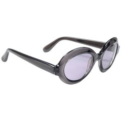 New Vintage Pierre Cardin Round Translucent Charcoal C12 1960's Sunglasses