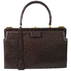 Hermes Vintage Brown Ostrich 404 Doctor Bag