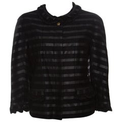 Chanel Black Cashmere Block Striped Fringe Detail Boucle Jacket XL