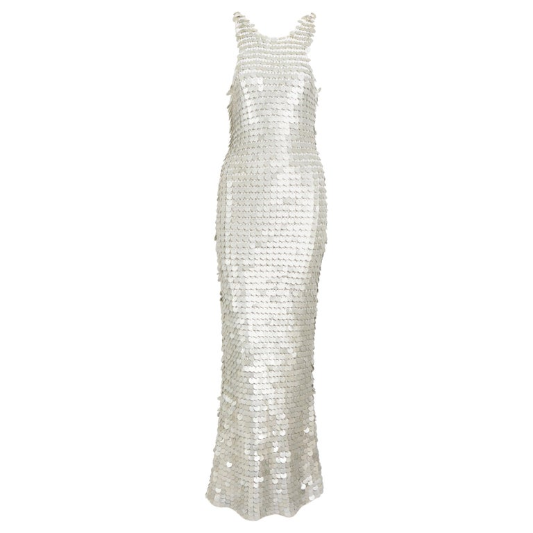 Vintage 1970 sheer white crochet and silver metallic disc sequins slip dress For Sale