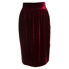 Fendi Red Velvet Midi Skirt L