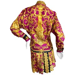 Gianni Versace 1987 Fuchsia and Gold Baroque Print Pleated Mini Skirt Suit